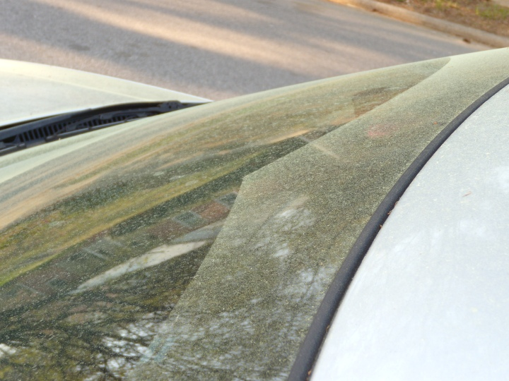 Pollen on the windshield - You can see where I used the wipers.