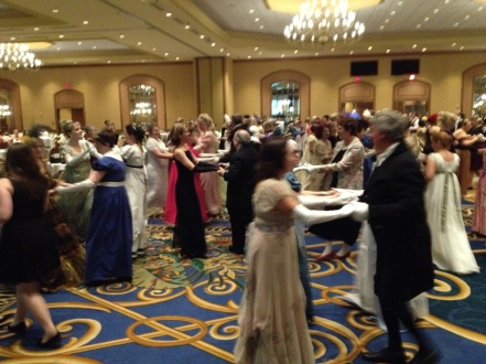 It's the Netherfield Ball (aka 2013 JASNA AGM Ball)! Look at all the pretty Regency dresses. The men suit up nicely too.