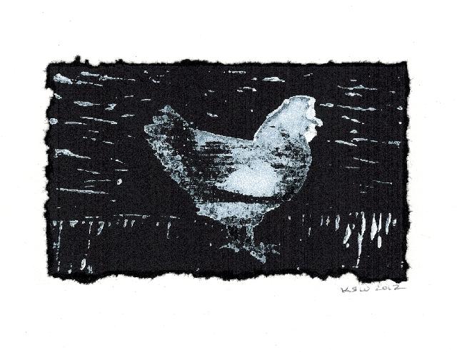 Chicken (linoleum block print), Karin S. Wiberg, 2012